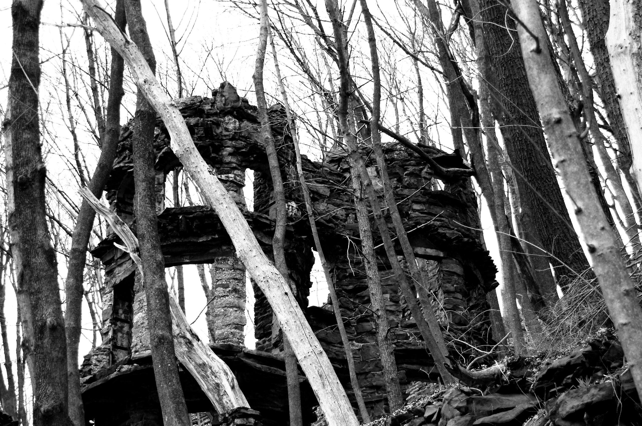 black and white abandoned masion