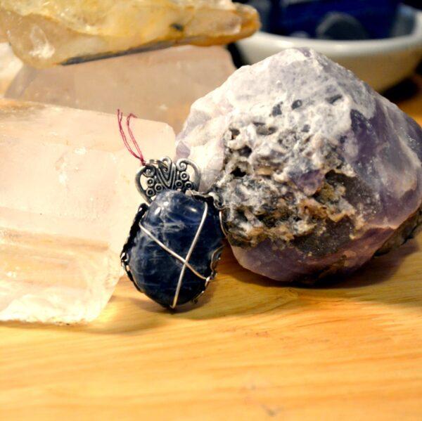 sodalite wrapped pendant