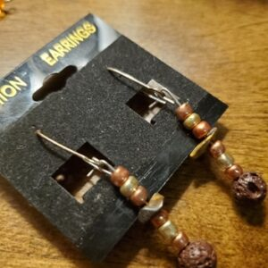 lava rock and tigers eye earrings