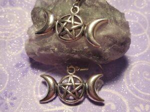 Triple moon pentagram earrings