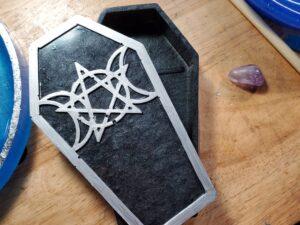 black triple moon coffin box