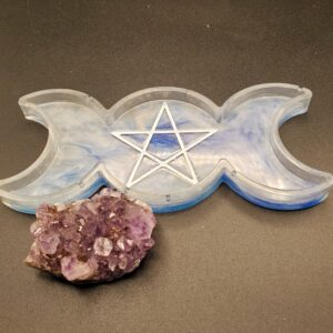 blue and white Triple Moon Tray
