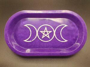 purple triple moon oblong tray