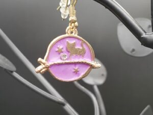 Pink and gold cat moon earrings