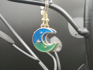Blue, green, and gold crescent moon with stars earrings