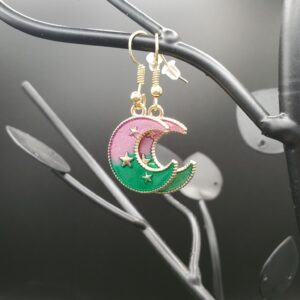 Purple, green, and gold crescent moon with stars earrings