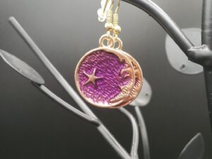 Purple and gold crescent moon with star earrings