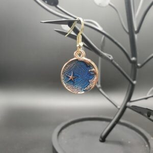 Blue and gold crescent moon with star earrings