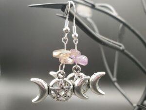 Amethyst Triple moon pentagram earrings