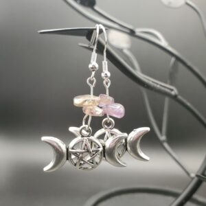 Amethyst Triple moon pentagram earrings
