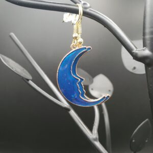 Blue and gold moon earrings