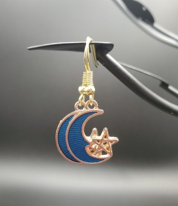 Blue and gold moon with star earrings
