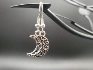 Filigree silver moon earrings