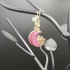Pink and gold moon with star earrings