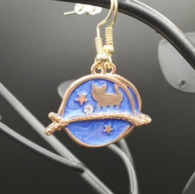 Blue and gold cat moon earrings