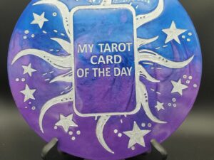 blue and purple tarot of the day plaque