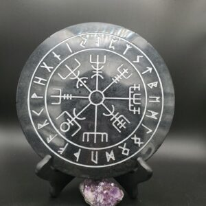 black and silver Runic Vegvisir wall hanging