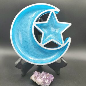 Teal moon and star tray