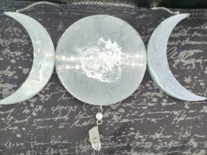 Dark Gray and silver Triple Moon Suncatcher