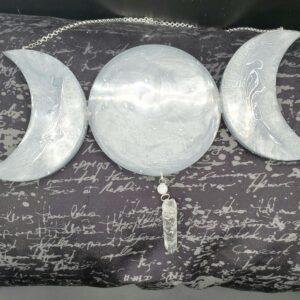 Light Gray and silver Triple Moon Suncatcher