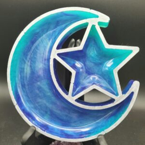 Purple and teal marbled moon and star tray