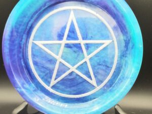 Teal and purple Tye die pentacle round tray