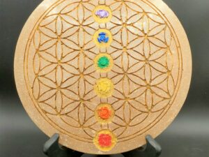gold flower of life and charka meditation or crystal grid board