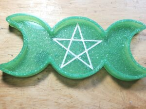 Bright green and glitter Triple Moon Tray