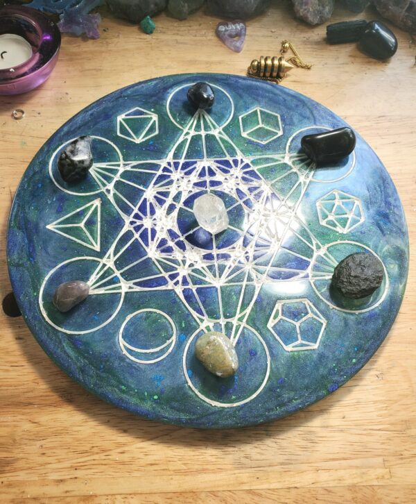 Blue and green Metatron's cube and platonic solids altar piece