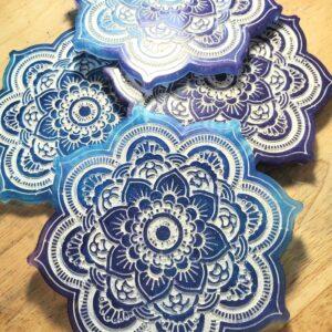 Blue and purple Mandala decorations