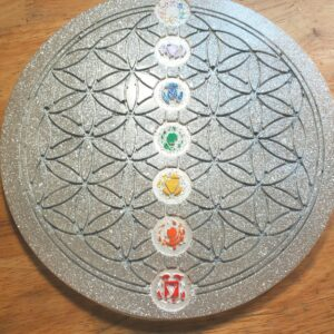 Silver and glitter flower of life and chakra meditation board-crystal grid