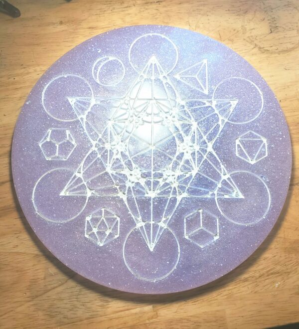 Lavender and glitter Metatron's cube and platonic solids altar piece