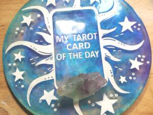 Blue, purple, and Teal Tarot Card of the Day board