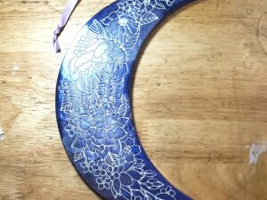 large marbled purple and lavender floral crescent moon hanging