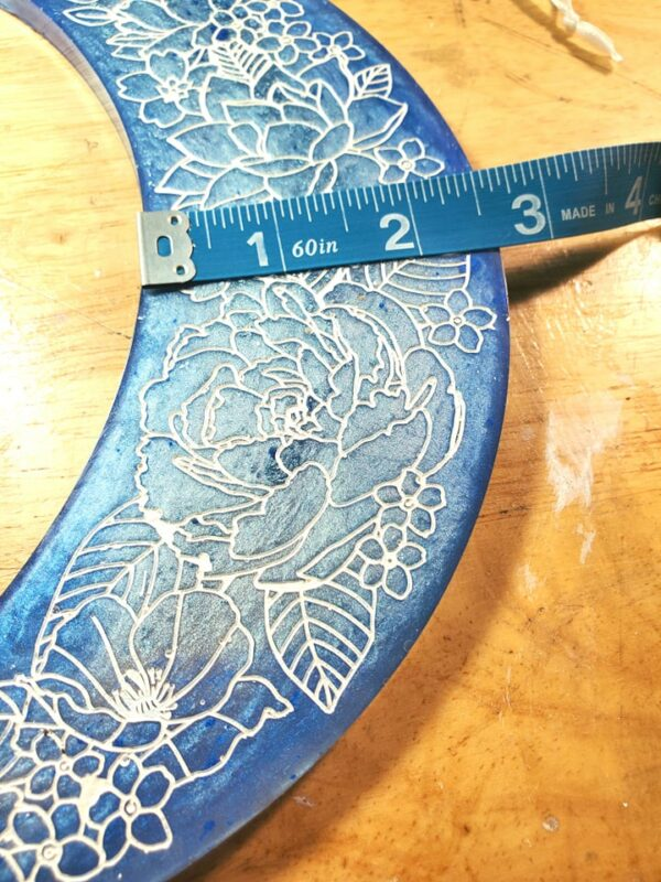 large marbled dark and light blue floral crescent moon hanging