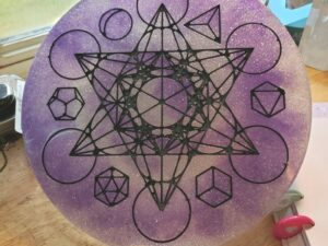 Purple and silver glitter Metatron's cube and platonic solids altar