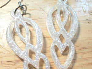 Silver glitter Resin Goddess Earrings