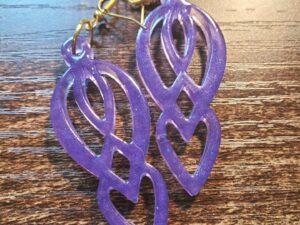 Purple Resin Goddess Earrings