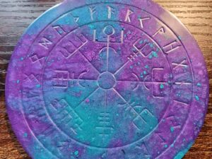 Paint your own Blue and Purple Mini Runic Vegvisir board
