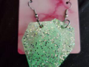 Glow in the dark glitter Coffin earrings