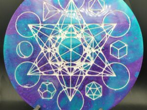 teal and purple metatron's cube and platonic solids board