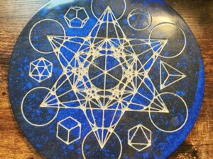 Blue and black Metatron's cube and platonic solids altar piece